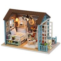 casas modelo de juguete de madera al por mayor-Sylvanian Families House Diy Casa de Muñecas Casa Montada A Mano Modelo Casa Juguetes Para Niños Regalos de Madera Niños Juguetes Brinquedos