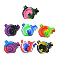Wholesale oil free foods - Travel Bong Snail Shape Silicone Water Pipe Non-toxic Food-Grade Silicone Dab Rig Portable Oil Rigs Silicone Blunt Bubbler Water Bongs SP220