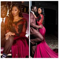 Wholesale sheer leather dress - Black Girls Burgundy Prom Dresses Long 2018 Sheer Long Sleeves Mermaid African Evening Gowns With Black Appliques Lace Vestidos De Fiesta