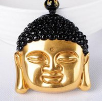 ingrosso pendente di amuleto di buddha-Collana con ciondolo portafortuna in amuleto naturale testa di buddha cinese in oro ossidato naturale