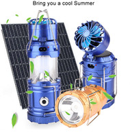Wholesale blue light flashlights online - Camping Light Solar Rechargeable Outdoor Fan Multi function LED Camping Light Portable Emergency Hand Tent Lamp Flashlight