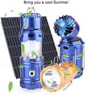 ingrosso torcia elettrica principale di emergenza multi-Camping luce solare ricaricabile all'aperto ventilatore multi-funzione LED luce di campeggio portatile emergenza mano tenda lampada torcia