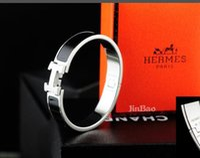 h браслет розы оптовых-H браслеты розовое золото H браслет для женщин манжеты письмо H браслеты Bijoux Femme Pulseira Feminina Masculina 18 мм ювелирные изделия с коробкой