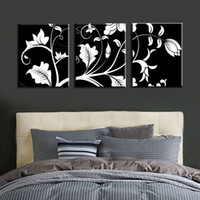 Wholesale wall art black white tree canvas resale online - Unframed Black White Flower Tree Modern Large HD Print Canvas Painting Art Picture For Living Room Home Wall Art Decor