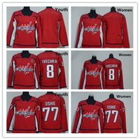 tallas de la camiseta de la juventud al por mayor-2018 Washington Capitals Youth Women 77 T J Oshie Jerseys Hockey 8 Alex Ovechkin Uniforme Niños Damas Camisas Rojo Blanco, Talla S-XL