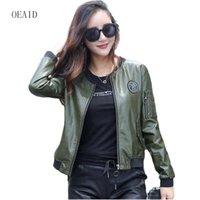 Wholesale Leather Jacket Women Xxl - OEAID Plus Size S M L XL XXL 3XL 4XL Leather Jacket Women 2017 New Short Slim Motorcycle Leather Coat Women Jackets Army Green