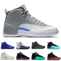 ingrosso super perfette scarpe-[Con scatola] Drop Shipping Super Perfect Quality economici 12 12s XII Flu Gioco French Blue The Master Uomini Basket Sport Shoes US5.5-13