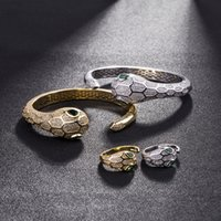 18k gold schlangenarmband großhandel-Schlangenkopf Öffnen Armreif Tier Silber Diamant Armbänder Frau Hochzeit Hohlen Armreifen Schmuck Set