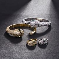 jeu de tête pour mariage achat en gros de-Tête de serpent ouvert bracelet animaux argent diamants bracelets femme partie de mariage bracelets creux creux ensemble de bijoux