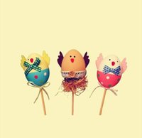 Wholesale free coloring kids - Free Shipping Funny Chick Design Plastic Coloring Painted Easter Eggs With Sticks Kids Gifts Toys For Christmas Easter Home Party Favors