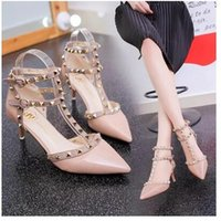 Wholesale types heels sandals - European station new high heels sharp sandals riveting sexy T type cingulate ribbon thin thin heels red wedding shoes