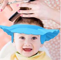 ingrosso cappelli da bagno per bambini-Regolabile Soft Baby per bambini Shampoo per il bagno Cuffia per doccia Shampoo per i bambini Testa per Baby Shower Cappello Bambino Cuffia per il bagno Visiera