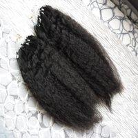 insan saçı mikro döngüler uzantısı toptan satış-Kaba Yaki Mikro döngü İnsan saç uzantıları 200g sapıkça düz% 100% İnsan Mikro Boncuk Linkler Makine Yapımı Remy Saç Uzatma Yaki