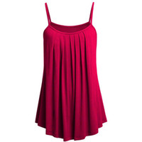 vestidos 6xl al por mayor-Mujeres Mini Vestidos Verano Sólido Beach Boho Vestido Vestido de Correa Plegado Péndulo Seis Color S-6XL Más Tamaño