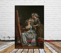 Wholesale portrait nude painting art for sale - Group buy Labille Guiard Self Portrait with Two Pupils Canvas Pieces Home Decor HD Printed Modern Art Painting on Canvas Unframed Framed