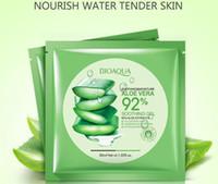 Wholesale cosmetic skin treatment - BIOAQUA Natural Aloe Vera Gel Face Mask Moisturizing Oil Control Wrapped Mask Shrink Pores Facial Mask Cosmetic Skin Care