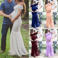 ingrosso manica di tiro blu-Maternity Women Dress Sexy Sexy Photography Puntelli Off Spalle Maniche corte Pizzo lungo Abito per maternità Abito da cerimonia