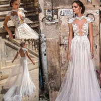 Wholesale wedding dresses slim line - Sheer Sexy Lace Wedding Dresses African Petite Short Sleeves Natural Slim Backless Bridal Gowns Custom Made