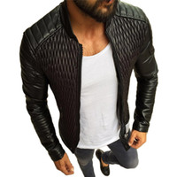 Wholesale long moto jacket resale online - Winter Moto Biker Leather Jacket Men Vintage Pleated Coat Motorcycle PU Leather Jackets Outerwear Casual Stand Collar black
