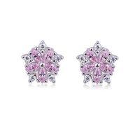 ingrosso orecchini di diamanti ipoallergenici-New Trend Simple Temperament Sweet Creative Orecchini Donna Wild Wild Hypoallergenic Pink Diamond Zircon Flower Cherry Earrings