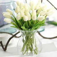 Wholesale white real touch tulips - 31pcs lot Tulips Artificial Flowers PU artificial bouquet Real touch flowers For Home Wedding decorative flowers & wreaths