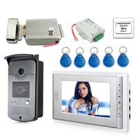 Wholesale video phone intercom doorbell resale online - 7 quot Screen Video Doorbell Intercom Door Phone System ID Keyfobs Electric Lock Alunimum Camera Power Supply Door Exit