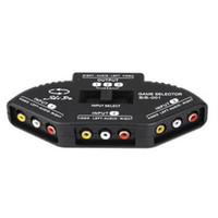 diviseur de câble rca achat en gros de-Répartiteur audio vidéo RCA AV à 3 ports 3 en 1 commutateur Sélecteur +3 câbles RCA pour XBOX DVD noir