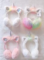çocuklar kış kulak muffs toptan satış-Yeni Çocuk Kulak Muffs Moda Kış Güzel Kalınlaşmak Peluş unicorn Earmuffs Yeni polar örgü Katı Renk Çocuklar Kulak Isıtıcı Earmuffs A01245
