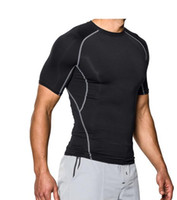 Wholesale compression short soccer online - Jimesports Quick Dry Running T shirt for Men Short Sleeve Sports Gym Fitness Soccer Training Jersey Jogging Compression Tight Shirt