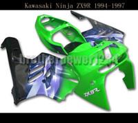 carrinhos completos zx9r venda por atacado-Carabinas Completas para Kawasaki ZX9R 1994 95 96 1997 ABS Carroçaria Verde Azul Preto