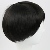 Wholesale celebrity wig online - Classical Black Short Straight Synthetic Hair Wig for Women Men Celebrity Cosplay Party Hair Wig with Cap