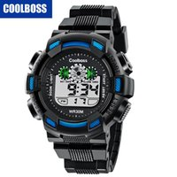 Wholesale pin electronics online - Fashion mens kids children sport led digital watch COOLBOSS kids students electronic gift party watches Multifunction boys watch