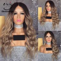 perucas de cabelo loiro chinês venda por atacado-Raízes escuras 150% densidade do cabelo humano chinês perucas loiras naturais olhando peruca de cabelo ombre roxo, dois tons de cor grande onda do cabelo perucas