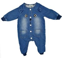 Wholesale french clothing sizes online - Baby Girls Romper Denim Soft Jeans Bodysuit Long Sleeve Infant Size Cute Cat Embroider Baby Clothing