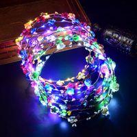 halloween hochzeitshaar großhandel-Partei-Hochzeits-LED-Blumengirlande Rattanstirn-Haargirlanden Haarband-Weihnachtshalloween-Kranz-Blumenbraut-Kopfschmuck MMA733