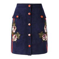 9642f67e5a0 BOHO вдохновил джинсовая юбка высокой талией кнопки цветочные вышивки юбки  женские повседневные летние мини-юбки falda бренд clothing 2017