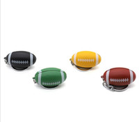 caixa de mini cachimbos venda por atacado-Mais novo colorido Metal Pipe Keychain forma de futebol Mini fumar mão cigarro do tabaco tubo tubo portátil 4 cores com caixa de exibição