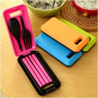 Wholesale Portable Plastic Cutlery Sets - Portable Folding Travel Dinnerware Set Tableware Cutlery Fork For Camping Picnic Kids Adult for Bento Lunch CCA8469 60pcs