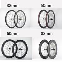 ruedas ud al por mayor-Ruedas de bicicleta de 50 mm / 60 mm Ruedas de fibra de carbono CLINCHER Rueda de carretera de bicicleta de 38 mm 3K o UD