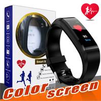 ios ekranı toptan satış-elma ID115 Artı Renkli Ekran Akıllı Bilezik Spor Tracker smartband Nabız Tansiyon Monitörü Akıllı Bileklik İçin