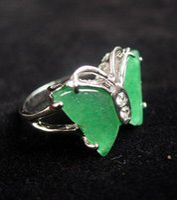 ingrosso oro della farfalla di giada-18K Gold Plated Women Natural Green Giada Butterfly Ring Jewelry Size 7 8 9 # spedizione gratuita