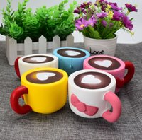 Wholesale Rose Shape Rings - Coffee Cup Squishy Toys heart shaped Squeeze Slow Rising Squishy Coffee Cup Reduce Stress Key ring Strap Squishies Toys GGA140 50PCS