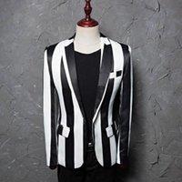 ingrosso vestiti chic bianco nero-Blazer slim uomo bianco nero a righe Cappotto elegante con un bottone elegante