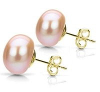 perlas cultivadas de 11mm. al por mayor-10-11mm PINK Natural Akoya Cultured Pearl 14K Gold Plated Stud Earrings