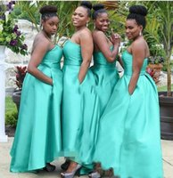 Wholesale lower girl dresses for sale - Group buy A Line Bridesmaids Dresses Black Girls Country Sweetheart Sleeveless Backless High Low Satin African Custom Prom Wedding Guest Gowns