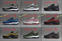 Wholesale cheap plastics - High quality 2018 Men Air Cushion 97 Drop plastic Breathable Low Running Shoes Cheap Massage 97s Flat Sneakers Sports Outdoor