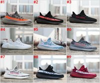 Wholesale green stripes - 2018 Cheap SPLY 350 Boost V2 Shoes Begula Semi Frozen Gum Glow in Dark Yellow Zebra Running Shoes Bred Black Red Stripes Size 36-46