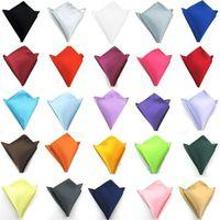 pañuelo azul al por mayor-Traje de color puro toalla de bolsillo toalla de cara Vestido de boda pañuelo de pecho Negro azul verde amarillo morado T4H0247
