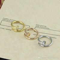 ingrosso migliori marche di anelli-Vendita calda di lusso all'ingrosso di marca chiodo anello di dito in acciaio inox 316L CZ pietra impostazione migliore regalo anello per le donne degli uomini Anello amante