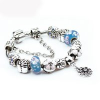 Wholesale Wholesale Pandora Cherry Blossom - Charm Bracelets and Charm for Pandora for Women Silver Plated Cherry Blossoms Blue Beads Trends Bracelet Bangle D624S